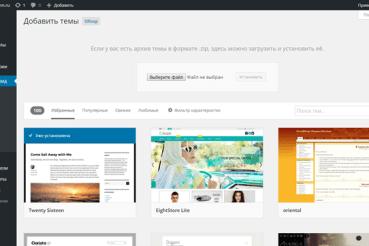 Выбор шаблона WordPress в Консоли