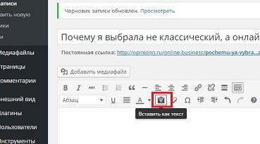 wordpress Вставить как текст