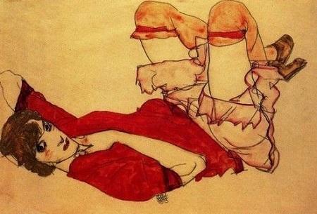 Эгон Шиле. Валли в красной блузе, с поднятыми коленямиБ 1913