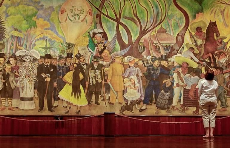 """Фрагмент фрески Диего Риверы для отеля Прадо в Мехико """"Сон о воскресном дне в парке Аламеда"""", 1948"""